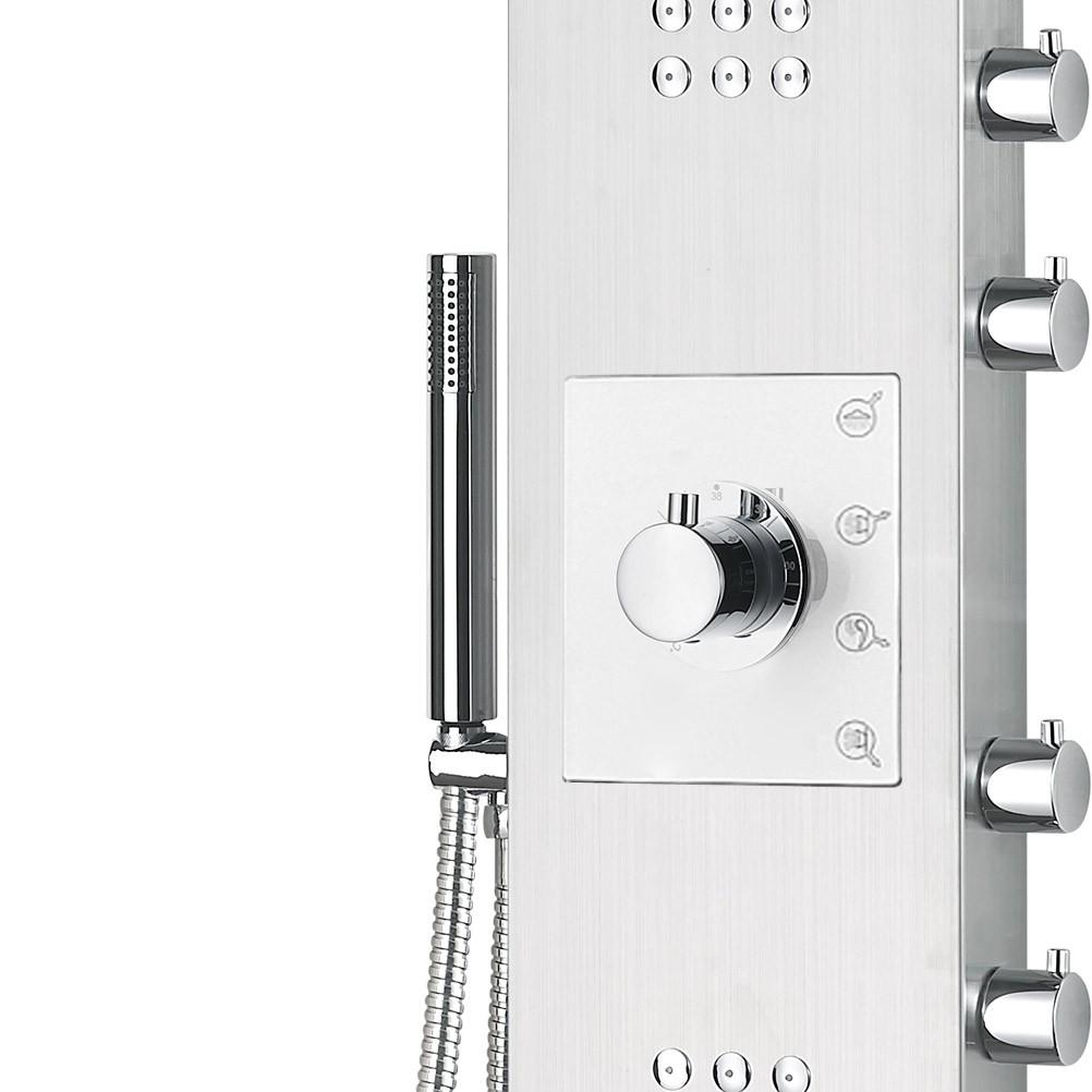 edelstahl duschpaneel thermostat mit massagejets wasserfall duschsysteme duschpaneele. Black Bedroom Furniture Sets. Home Design Ideas