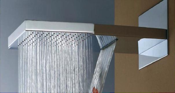 edelstahl wand regendusche mit wasserfall dusche. Black Bedroom Furniture Sets. Home Design Ideas