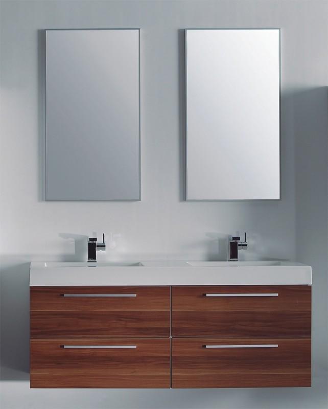 badm bel set doppelwaschtisch walnuss badezimmerm bel ebay. Black Bedroom Furniture Sets. Home Design Ideas