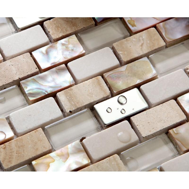 Mix Mosaik Aus Perlmutt Fliesen Naturstein Und Glasmosaik Beige Ebay
