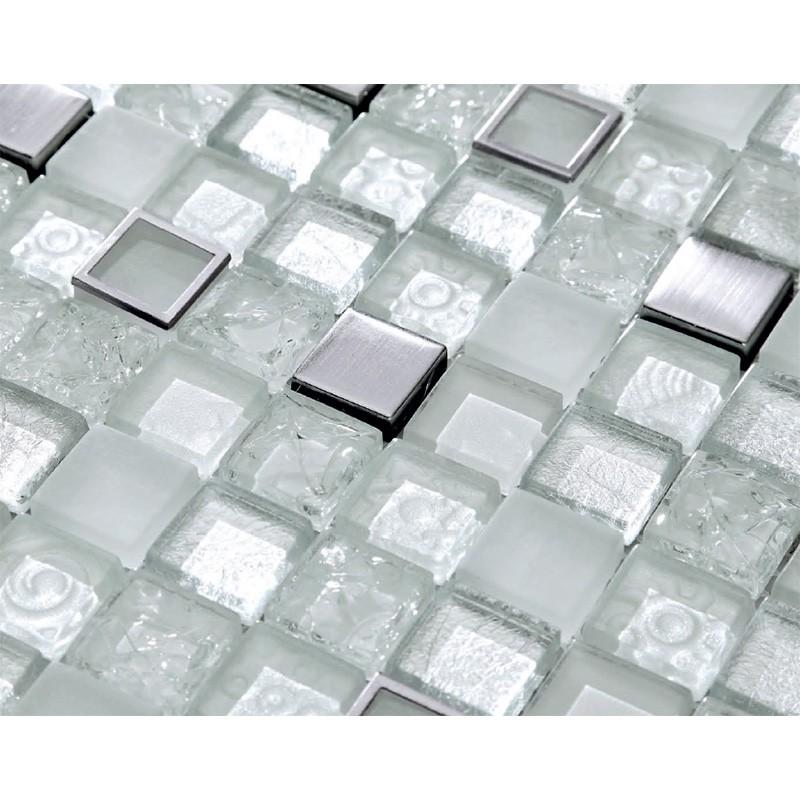 mosaik fliesen aus edelstahl harz und glasmosaik crushed ice ebay. Black Bedroom Furniture Sets. Home Design Ideas