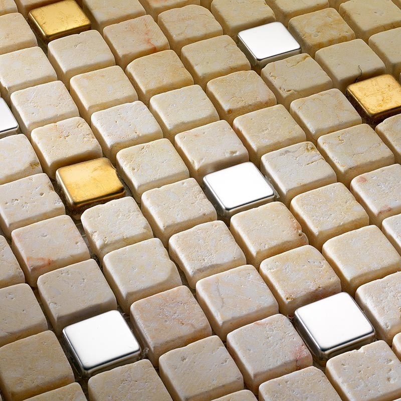 Mosaik fliesen aus marmor mit edelstahl athen
