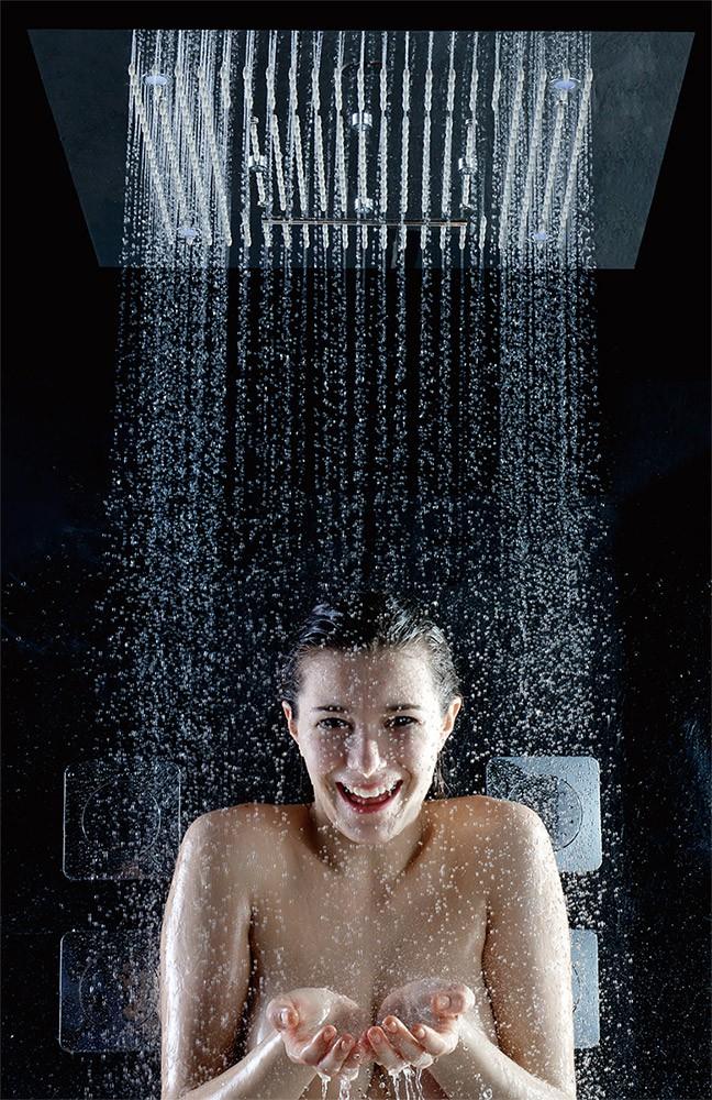 Unterputz Armatur Dusche Wechseln : Soho Regendusche 60×60 LED Wasserfall & Nebel mit Einbaurahmen