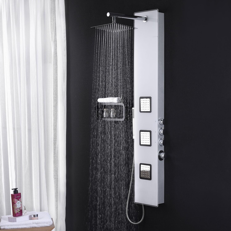 edles glas duschpaneel mit thermostat in weiss dusche duschs ule ebay. Black Bedroom Furniture Sets. Home Design Ideas
