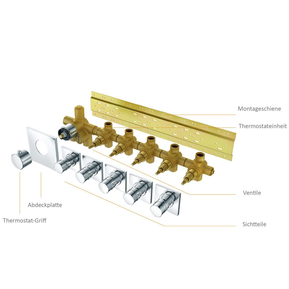 Unterputz Armatur Dusche Mit Thermostat : Soho 5 Wege Unterputz Thermostat Armatur Armaturen Dusche (Unterputz)