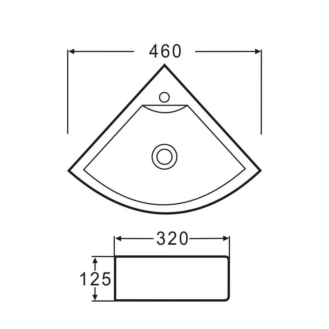 eck keramik waschbecken g ste wc 46x32 cm badkeramik waschbecken. Black Bedroom Furniture Sets. Home Design Ideas