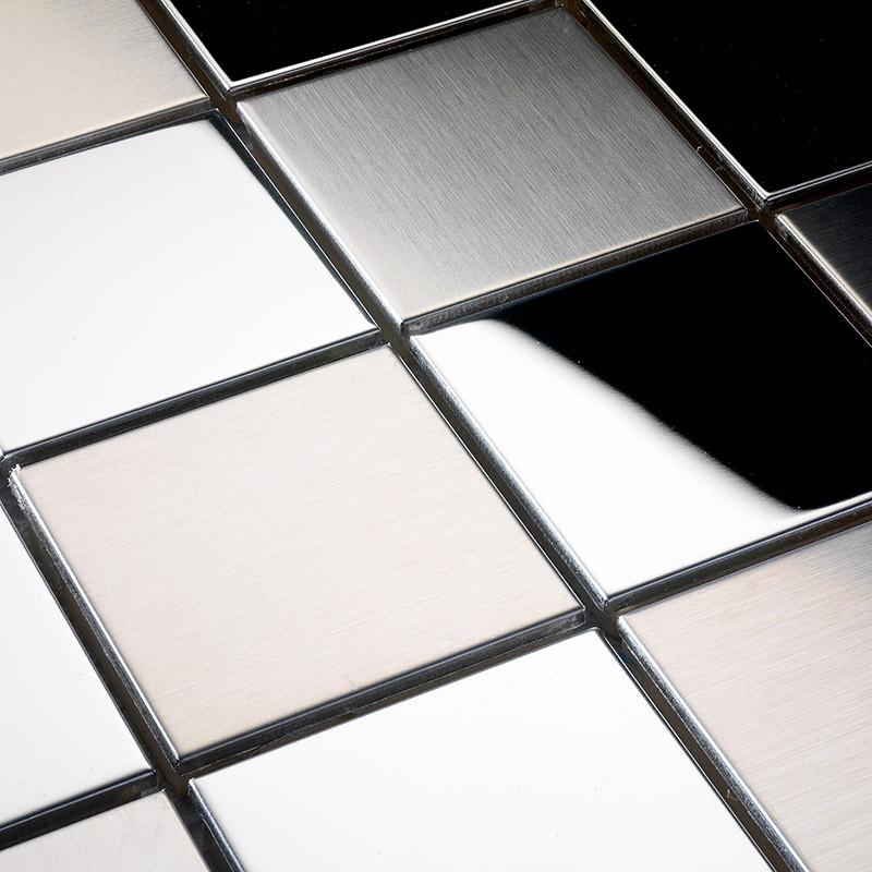 Dusche Unterputz Oder Aufputz : Mosaik Fliesen aus Edelstahl geb?rstet 48×48 mm Mosaik