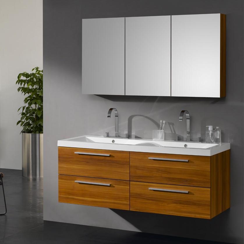 Doppelwaschbecken mit unterschrank und spiegelschrank  Badmöbel Set