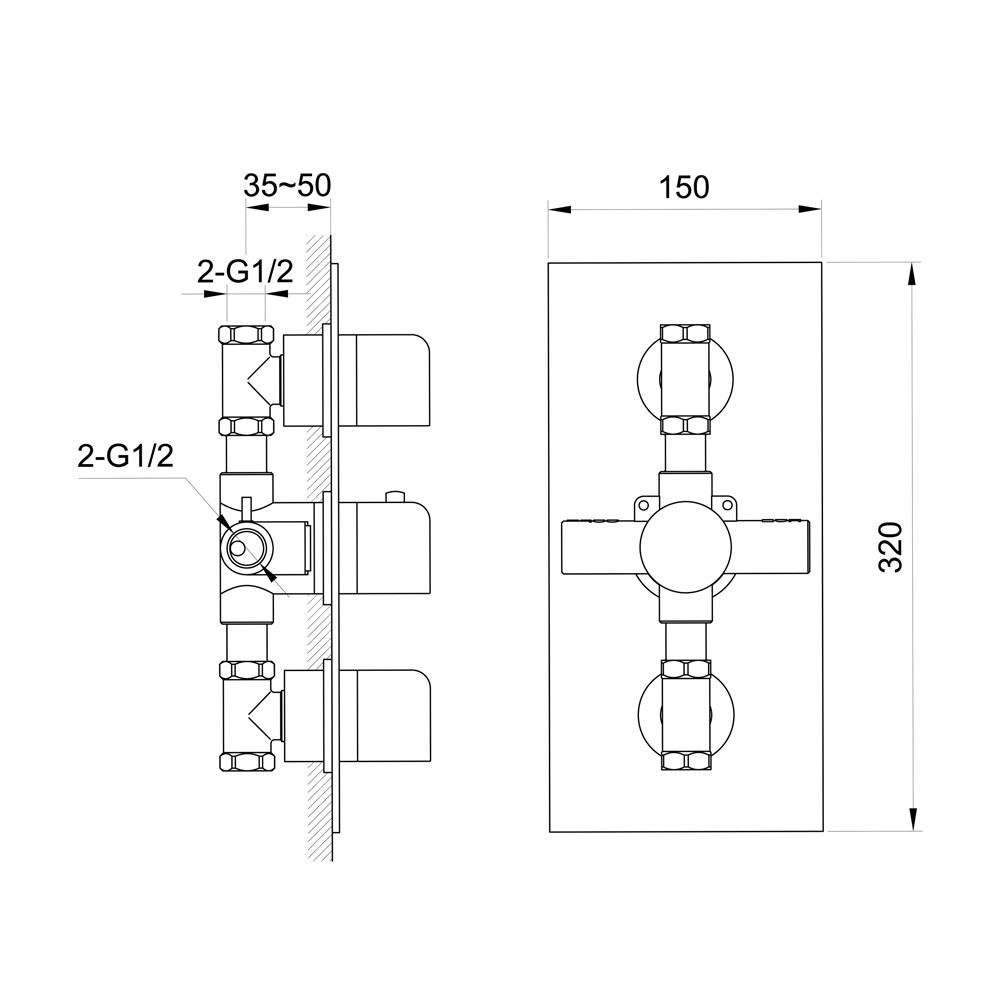 Unterputz Armatur Dusche Mit Thermostat : Soho 2 Wege Unterputz Thermostat Armatur Armaturen Dusche (Unterputz)